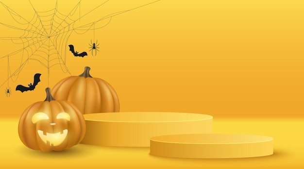 Scena 3d minima di vettore di halloween per visualizzare il tuo prodotto. zucca emozionale del fumetto di vettore 3d con la ragnatela e pipistrelli neri. piattaforma festiva del podio. vetrina e scaffale. eps 10