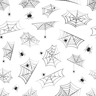 Reticolo senza giunte di halloween, ragnatela e ragnatela appesa. sfondo ragno nero, stampa horror per la decorazione delle vacanze. illustrazione raccapricciante