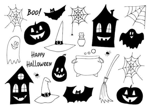 Insieme di vettore di halloween. icone in bianco e nero disegnate a mano, icona di halloween