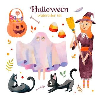 Set di acquerelli di halloween