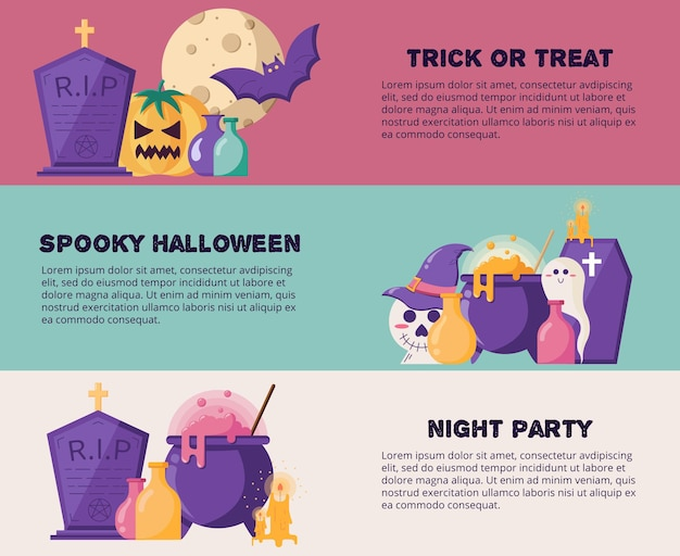 Banner orizzontale web di halloween in un'illustrazione vettoriale di stile piatto per l'intestazione del sito web