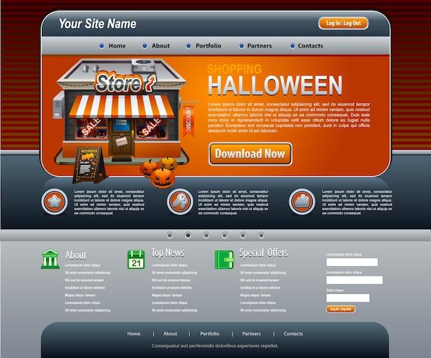 Modello arancione scuro degli elementi del sito web di halloween