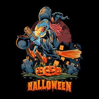 La strega di halloween vola con una scopa sopra il mucchio di zucche di halloween e trasporta una pentola piena di veleno. strati modificabili grafica