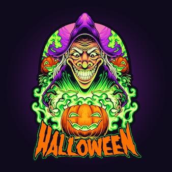 Illustrazione della strega di halloween