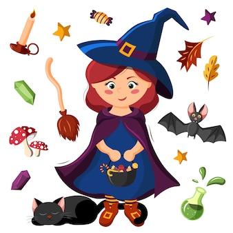 Strega di halloween con gatto nero e con accessori.