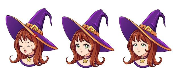 Strega di halloween con diversa espressione del viso