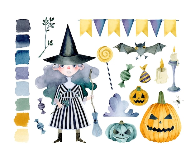 Strega di halloween con insieme di elementi dell'acquerello della congrega di zucche