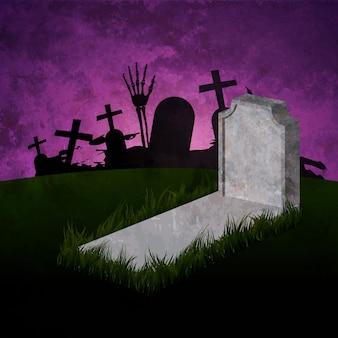 Halloween con tomba e fantasma