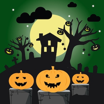 Halloween con la sagoma di un castello sulla luna splendente e alberi morti vicino al cimitero