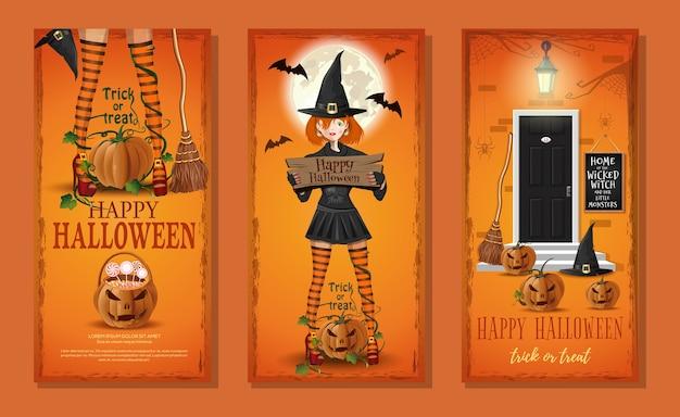 Halloween con la giovane strega carina e jack o lantern.