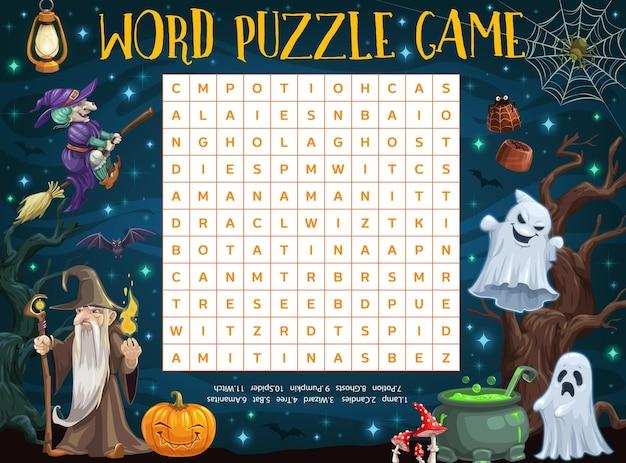 Foglio di lavoro puzzle di parole di halloween con stregone, strega, zucca e fantasmi dei cartoni animati. quiz di parole per bambini o griglia di gioco di indovinelli con fantasmi dell'orrore di halloween, ragnatela e pipistrelli, mago malvagio e calderone di pozioni