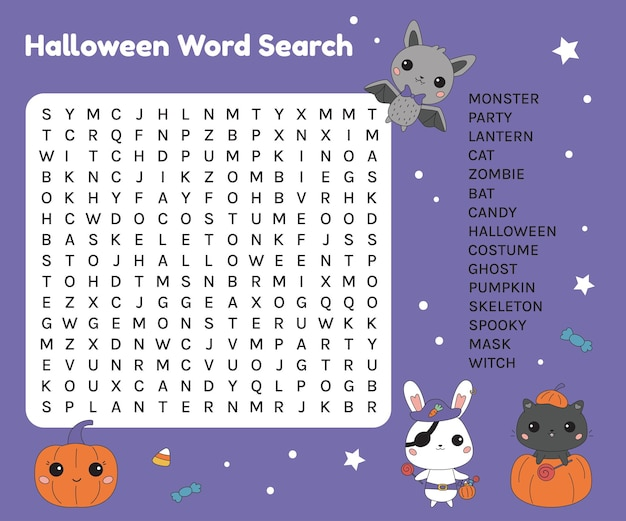 Foglio di lavoro per la ricerca di parole di halloween per bambini
