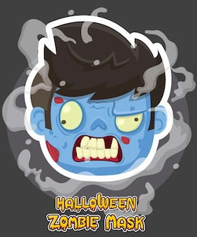 Disegno vettoriale di halloween zombie maschera. illustrazione di arte di clip di vettore con gradiente semplice. emozione di testa di zombie dei cartoni animati