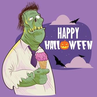 Zombie di halloween con gelato all'opera d'arte della festa notturna di halloween