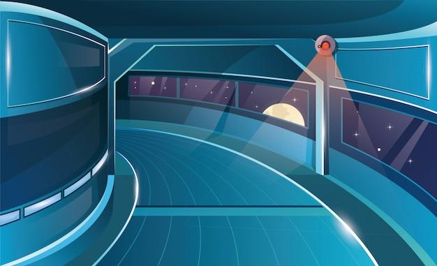 Corridoio in astronave con porta aperta. interni futuristici