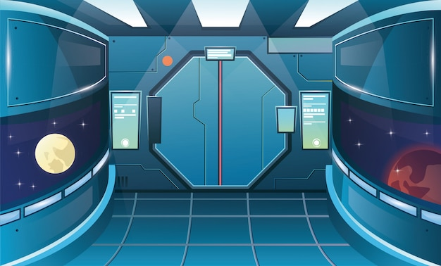 Corridoio in nave spaziale con oblò. futuristica sala interna con porta
