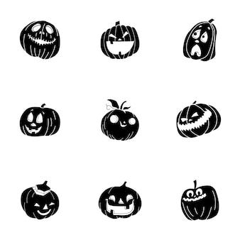 Insieme di vettore della zucca di haloween. la semplice illustrazione a forma di zucca di haloween, elementi modificabili, può essere utilizzata nella progettazione del logo