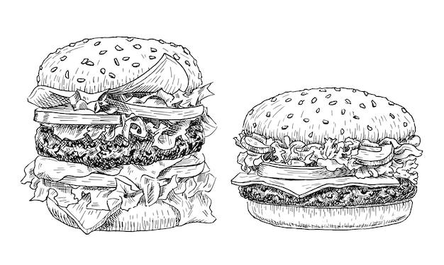 Hamburger e cheeseburger disegnati a mano.