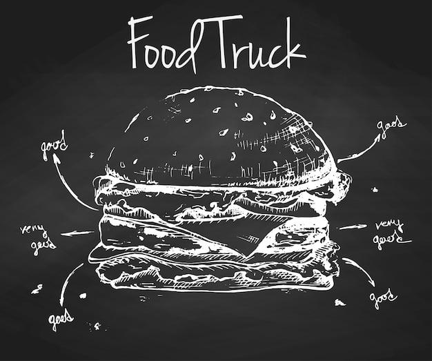 Hamburger disegnato a mano su una lavagna. illustrazione vettoriale. iscrizione food truck