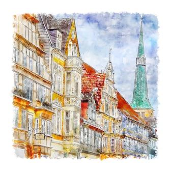 Illustrazione disegnata a mano di schizzo dell'acquerello di hameln germania