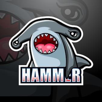 Mascotte di squalo martello esport