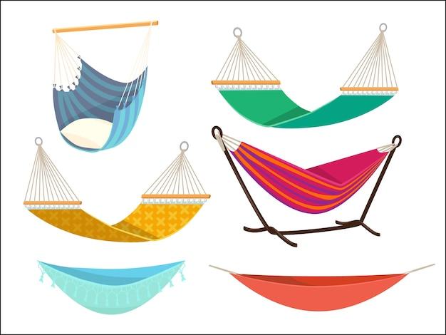 Set amaca. posto di riposo del letto all'aperto di stile di vita di comodità dalla raccolta del fumetto di vettore del tessuto altalena amaca relax, illustrazione confortevole relax