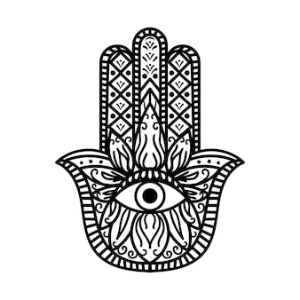 Hamsa fatima hand tradition amulet monocromatico. braccio di segno religioso con occhio che tutto vede. simbolo di protezione dalla creatura mistica. stile bohemien vintage in bianco e nero