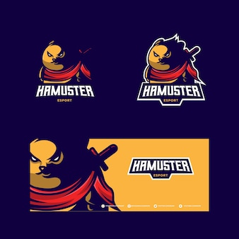 Logo della mascotte di hamster esport