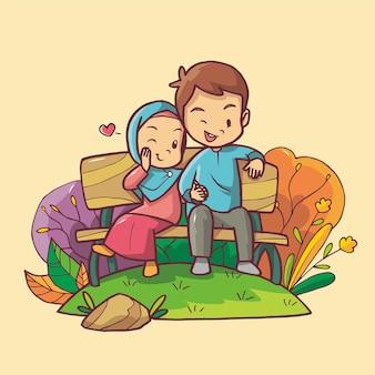 Illustrazione disegnata da han di una coppia musulmana che si incontra su una panchina del parco