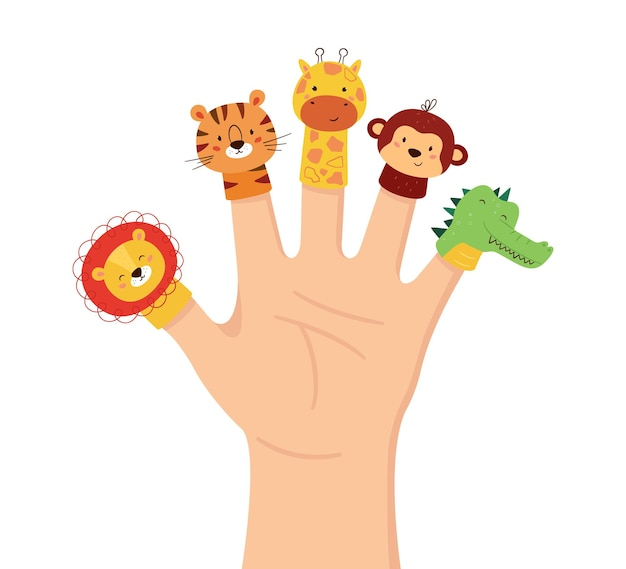 Burattini di animali a mano. teatro con le dita per bambini. tempo libero in famiglia. bambole di leone, tigre, giraffa, scimmia e coccodrillo. illustrazione vettoriale isolato su sfondo bianco in stile disegnato a mano