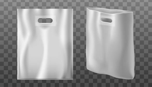 Borsa a mano con foro o maniglia in plastica o pellicola. sfondo trasparente.