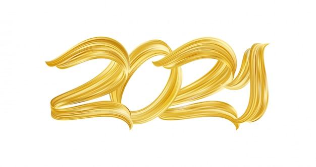 Numero di lettere di vernice dorata tratto pennello mano del 2021. felice anno nuovo