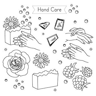 Set per la cura delle mani per le icone vettoriali dei cosmetici ecologici del salone della stazione termale in stile schizzo