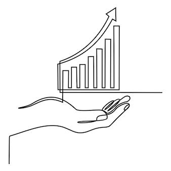 Disegno a tratteggio continuo della mano con il vettore dell'illustrazione dell'icona del grafico commerciale di concetto di affari