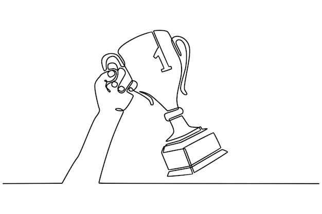 Disegno a linea continua a mano con il concetto di premio del vincitore della vittoria del vincitore del premio del campione