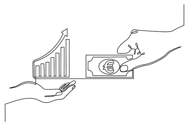 Disegno a tratteggio continuo a mano con il concetto di business finanziario dell'icona del grafico delle transazioni di scambio di valuta