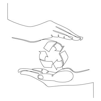 Disegno a tratteggio continuo della mano con il segno di riciclaggio isolato sull'illustrazione bianca di vettore del fondo