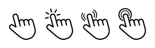 Insieme dell'icona piatta del cursore della mano.