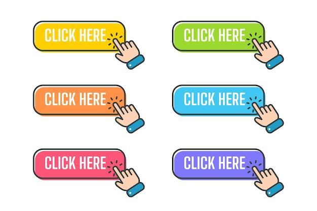 Cursore della mano con il pulsante di clic. clicca qui.