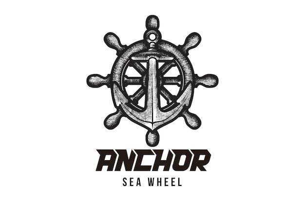 Icona del logo di vettore di ancoraggio dell'alba della mano simbolo dell'illustrazione della barca dell'oceano del mare marittimo nautico disegni ispirazione isolata su fondo bianco
