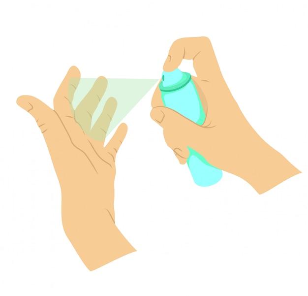 Disinfezione delle mani, dispositivi di protezione individuale, spray disinfettante per prevenire virus, coronavirus.