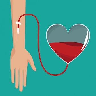 Sangue del cuore del donatore a mano