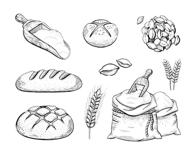Mano disegnare panetteria set sacchetto di farina, pane, spiga di grano, concetto abbozzato. disegno di arte al tratto nero inciso isolato