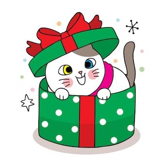 Mano disegnare cartone animato carino buon natale, gatto in scatola regalo verde