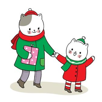 Mano disegnare cartone animato carino buon natale, gatti di famiglia e confezione regalo Vettore Premium