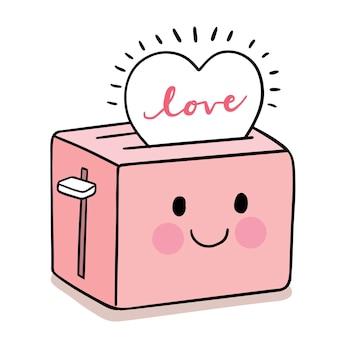Mano disegnare fumetto carino per san valentino con tostapane e cuore