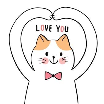 Disegnare a mano cartone animato carino per san valentino con azione cat e amore