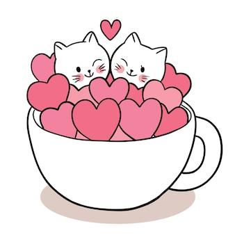 Mano disegnare cartone animato carino per il giorno di san valentino con coppia di gatti e molti cuori in tazza di caffè