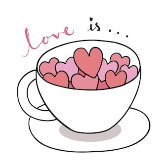 Mano disegnare fumetto carino per san valentino con cuori in tazza di caffè Vettore Premium