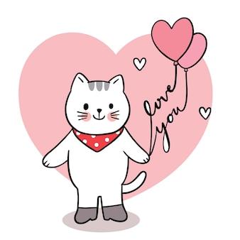 Mano disegnare cartone animato carino san valentino, gatto e palloncino